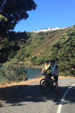Kem and Kev admire the view across Evans Bay